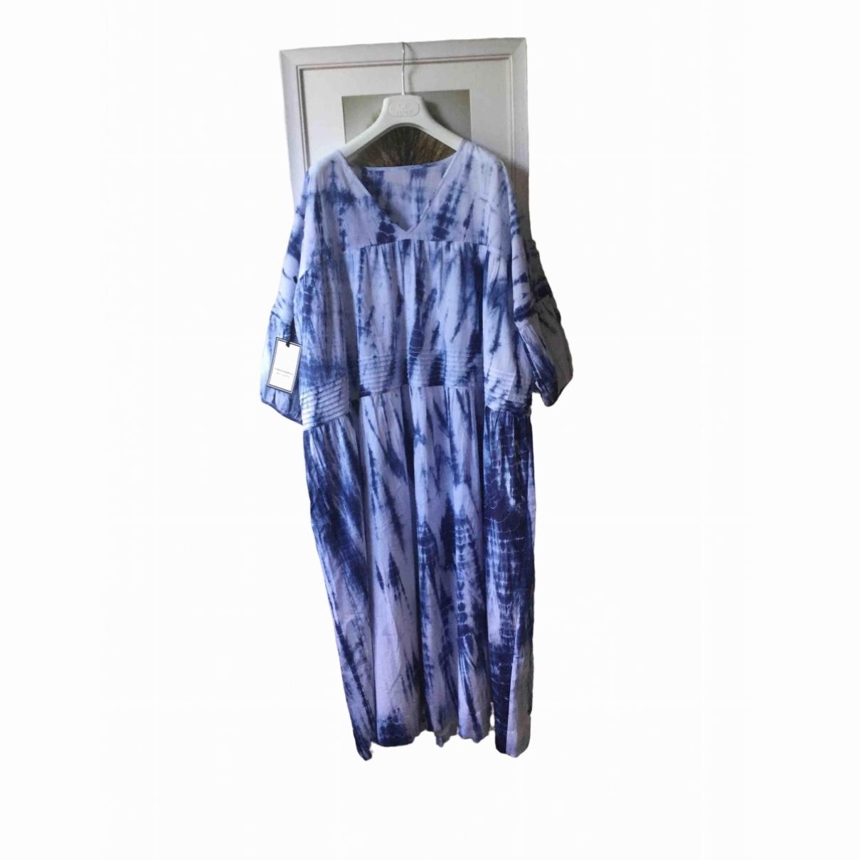 Non Signé / Unsigned Manche ballon Blue Cotton dress for Women One Size International
