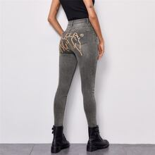 Graphic Print Back Ripped Jeans