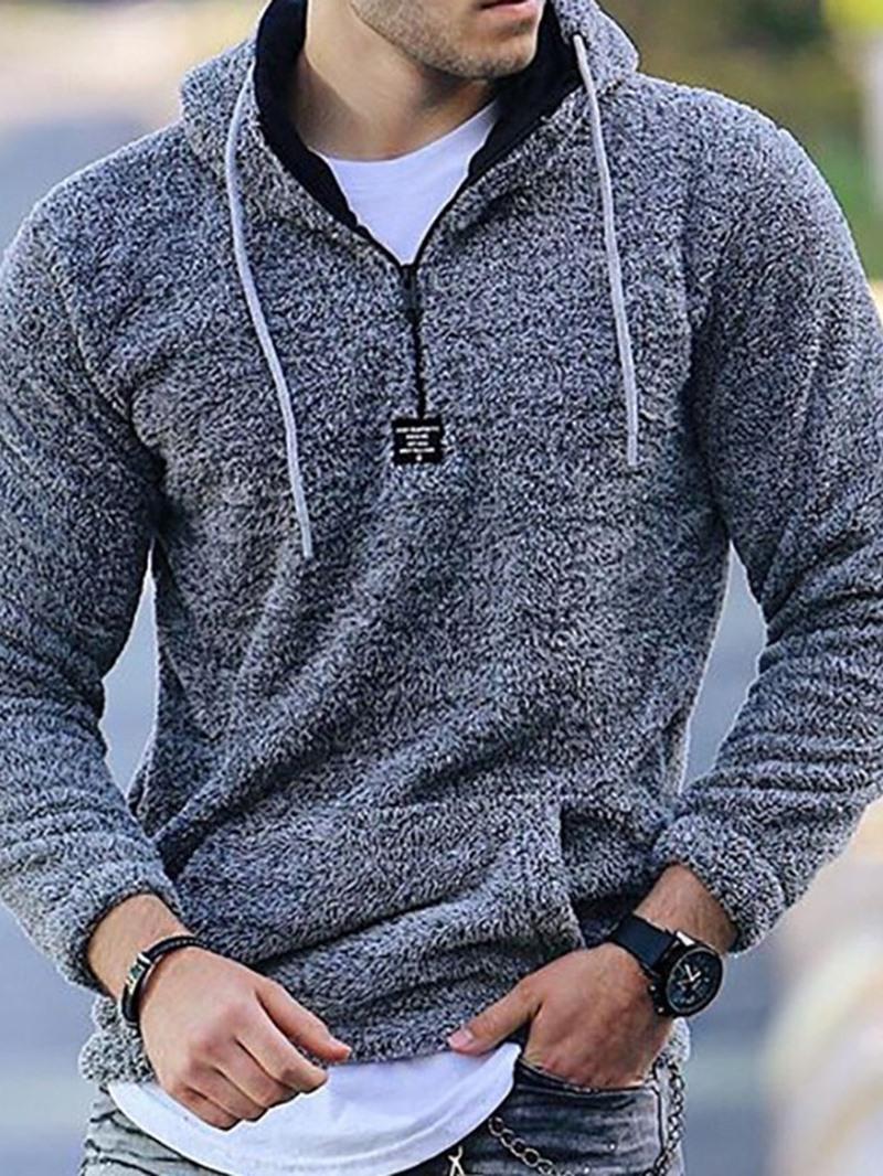 Ericdress Plain Pullover Pocket Pullover Fall Hoodies