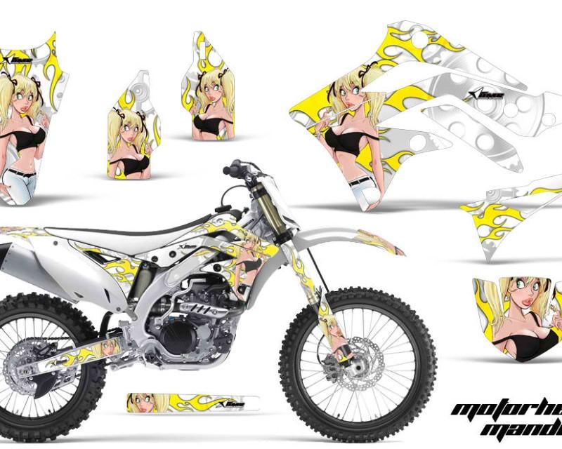 AMR Racing Dirt Bike Decal Graphic Kit Sticker Wrap For Kawasaki KXF450 2012-2015áMANDY BLACK WHITE