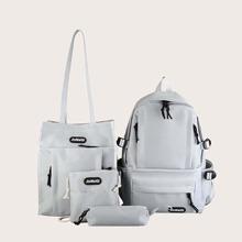 4 piezas set mochila con estampado de letra