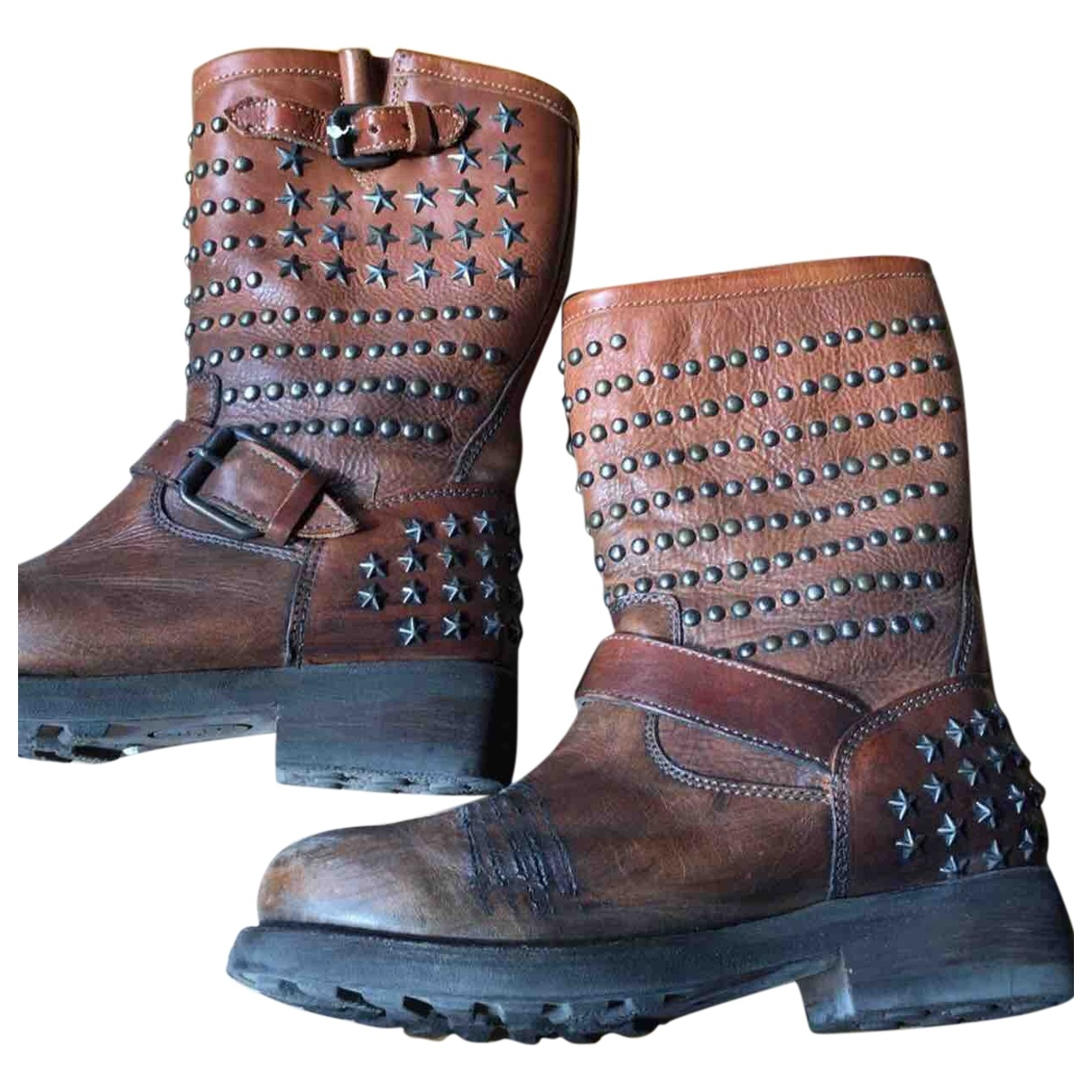 Ash \N Brown Leather Boots for Women 38 EU