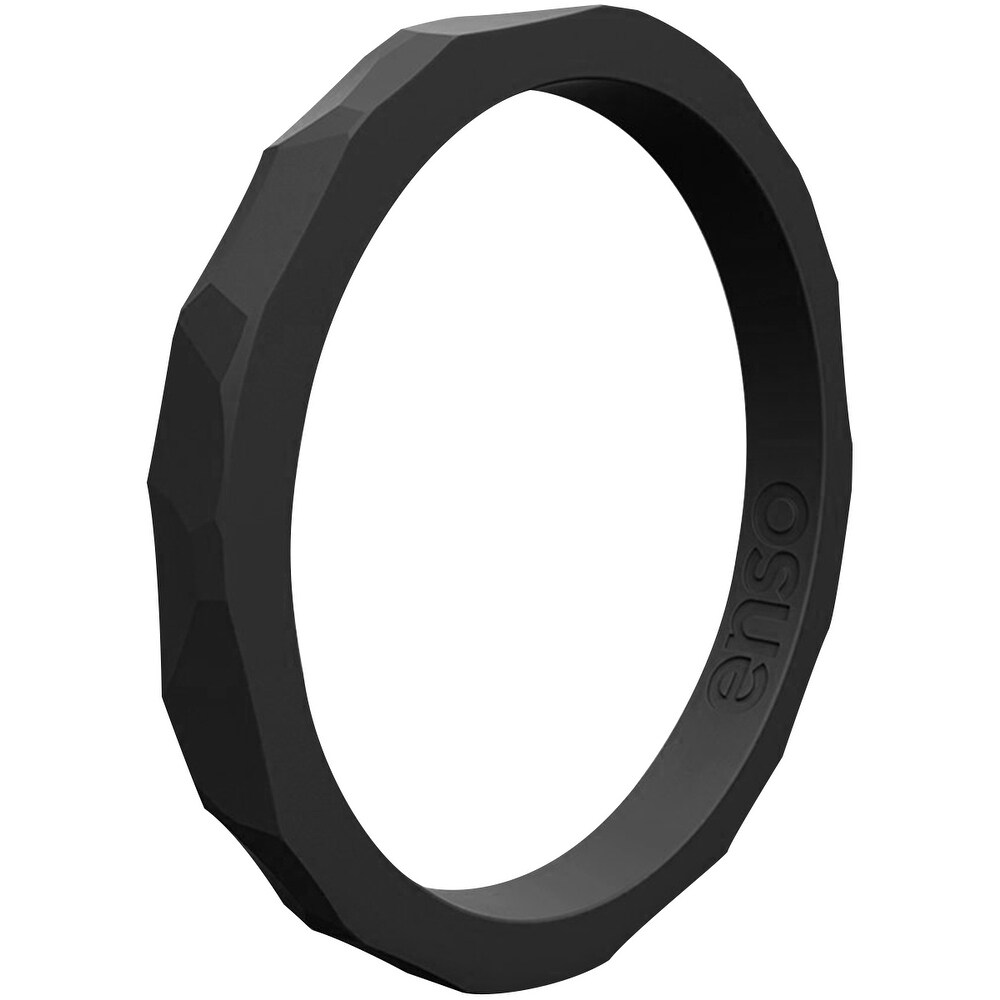 Enso Rings Hammered Stackables Series Silicone Ring - Obsidian (6)