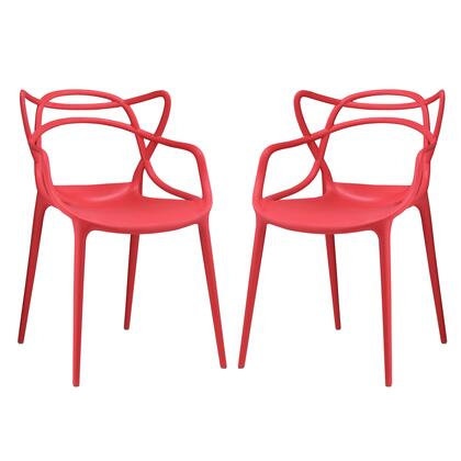 Entangled Collection EEI-2347-RED-SET Set of 2 Dining Chairs with Plastic Foot Guides  Modern Style and Molded Plastic Seat Construction in Red