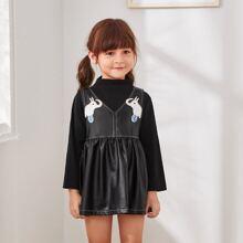 Rippenstrick T-Shirt & PU Leder Babydoll Kleid mit Karikatur Grafik
