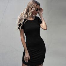 Vestidos Liso Negro Casual
