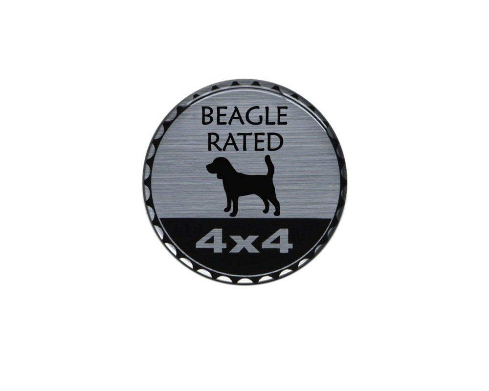 Tufskinz JEX059-DUM-271-G Rated Badge Fits Jeep 1 Piece Kit In Brushed Silver (Beagle Rated)