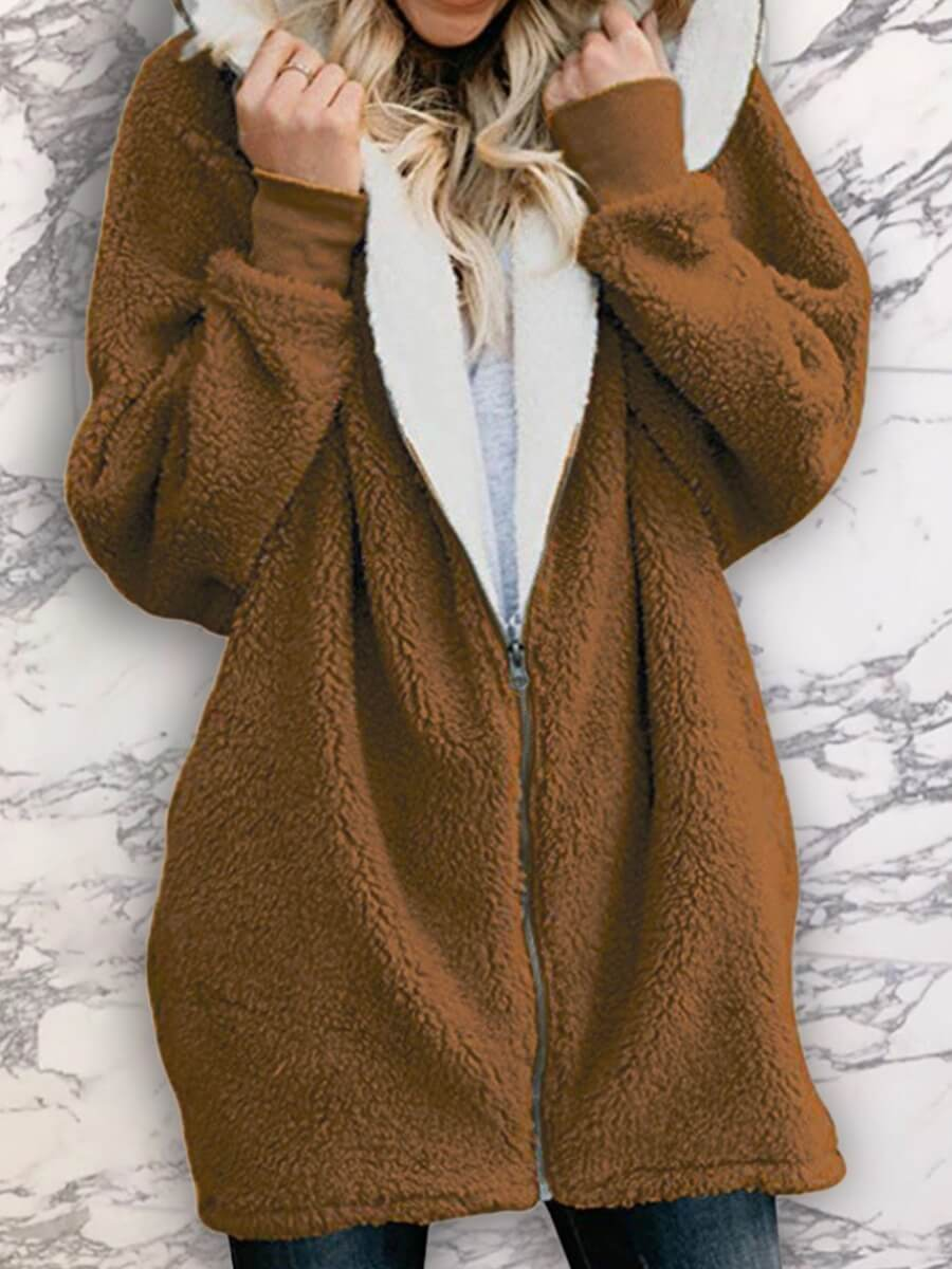 LW Lovely Casual Hooded Collar Zipper Design Brown Coat