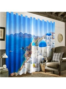 Beautiful Coastline City with Navy Blue Sea Printed Living Room and Study Room Blackout Curtain