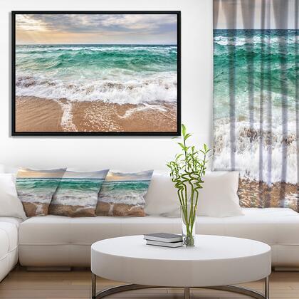 FL10550-42-32-FLB Crystal Clear Blue Foaming Waves - Seascape Framed Canvas Art Print -