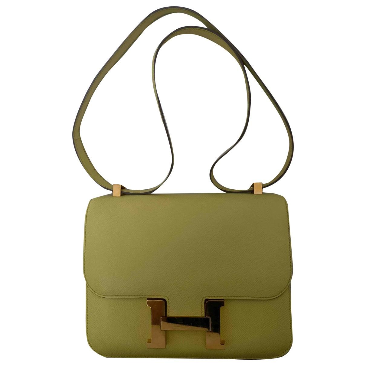 Hermes Constance Handtasche in  Gelb Leder