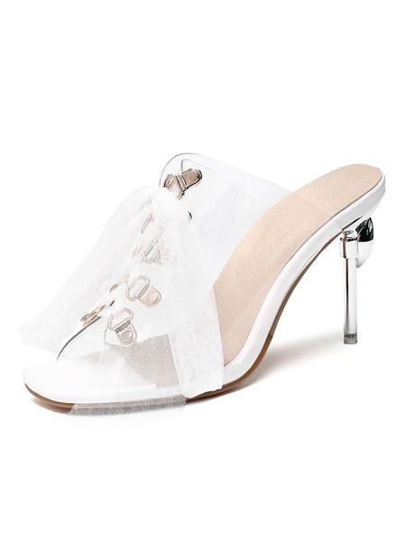 Milanoo Women\'s Clear Backless Sandal Transparente Slippers Slides