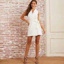Reines zweireihiger Blazer Kleid mit Guertel