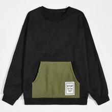 Men Letter Patched Kangaroo Pocket Sweatshirt