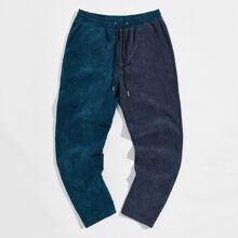 Pantalones de dos colores de cintura con cordon