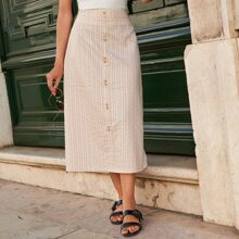Striped Print Button Front Zipper Side Skirt