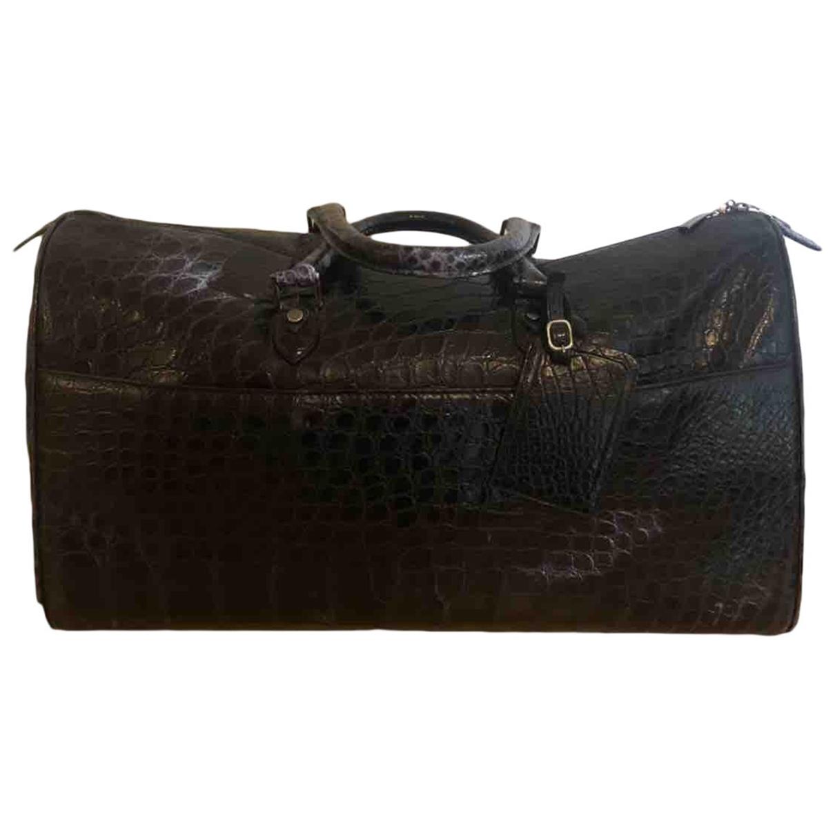 Ermenegildo Zegna \N Black Crocodile bag for Men \N