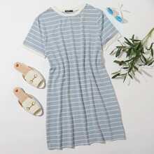 Plus Striped Ringer Tee Dress