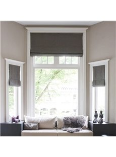 Solid Grey Color Cotton and Linen Blending Flat-Shaped Roman Shades