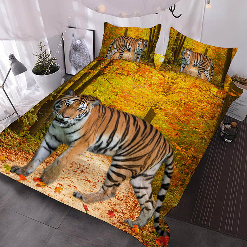 Tiger in the Forest 3D Animal Comforter 3-Piece Soft Comforter Sets with 2 Pillowcases