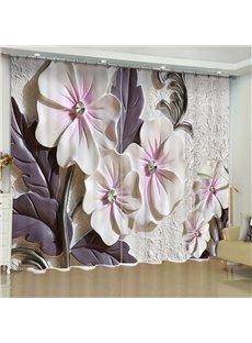 Artificial Elegant Beige Flowers Printed Custom Living Room 3D Curtain