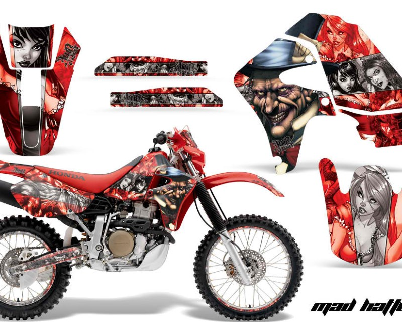 AMR Racing Graphics MX-NP-HON-XR650R-00-10-HAT S R Kit Decal Sticker Wrap + # Plates For Honda XR650R 2000-2010?HATTER SILVER RED