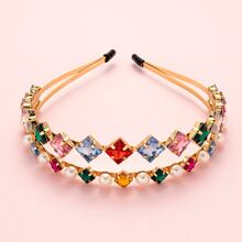Rhinestone Faux Pearl Inlaid Dual Layer Hair Hoop