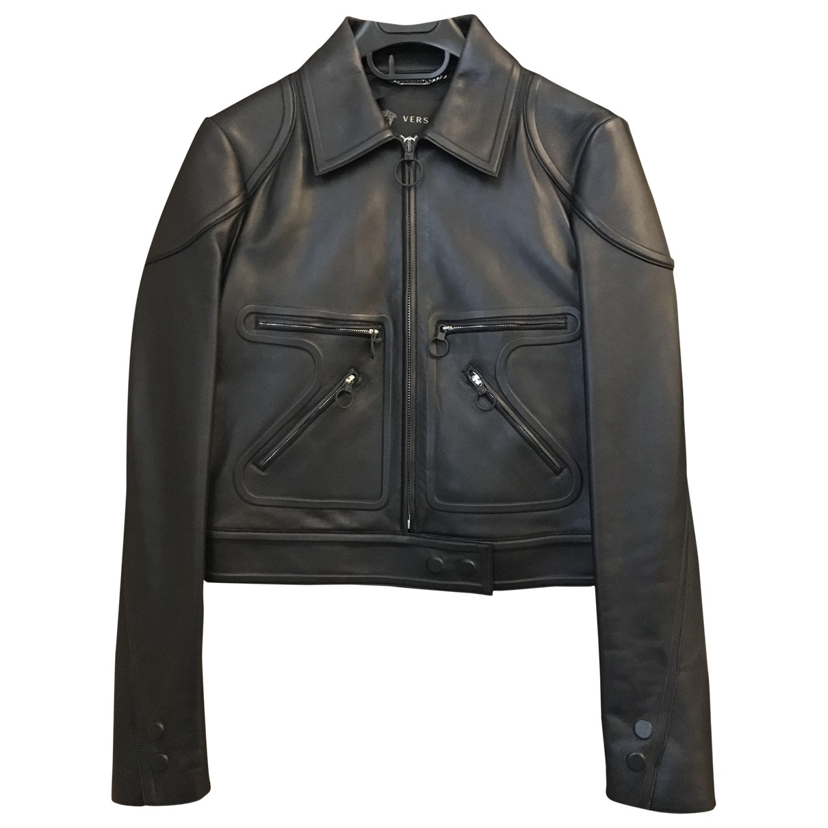 Versace \N Blue Leather Leather jacket for Women 40 IT