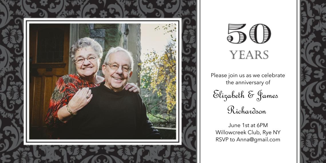 Anniversary Invitations 4x8 Flat Card Set, 85lb, Card & Stationery -Anniversary 50 Years Damask
