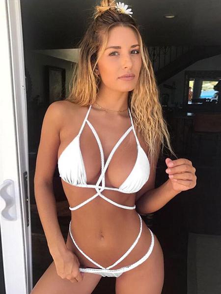 Milanoo Sexy Bikini Swimwear Halter Strappy Triangle Bikini