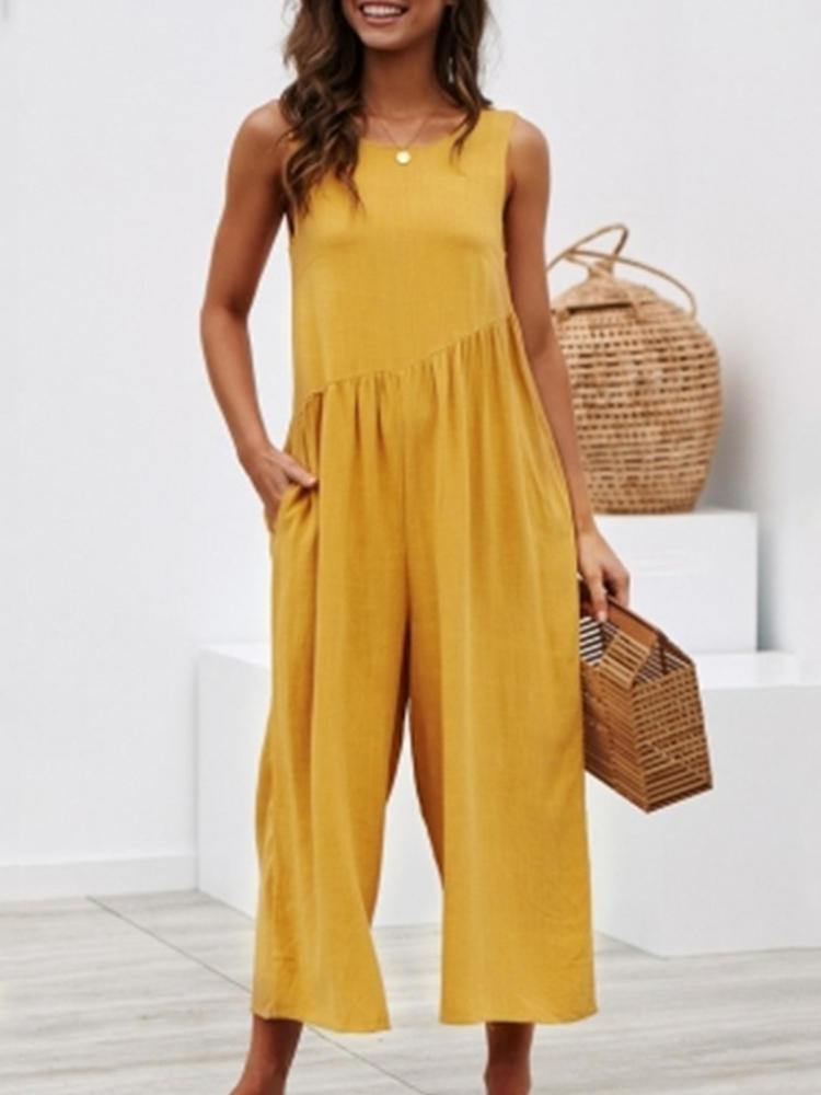Pure Color Sleeveless O-neck Wide Leg Jumpsuit