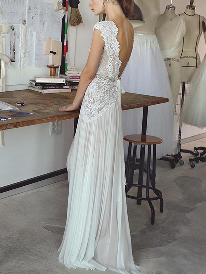 Ericdress Cap Sleeves Beading Lace Beach Wedding Dress 2020