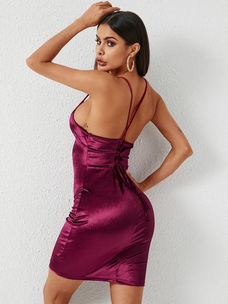 YOINS Red Backless Design Deep V Neck Spaghetti Strap Velvet Dress