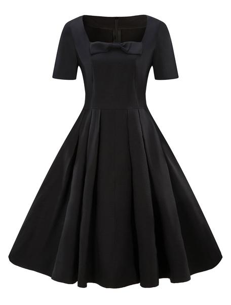 Milanoo Vintage Swing Dress 1950s Short Sleeve Square Neckline Bow Retro Midi Dress