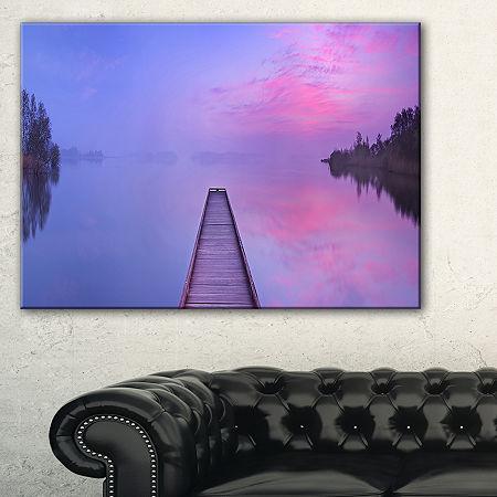 Designart Jetty In A Dawn Lake Canvas Art, One Size , Purple