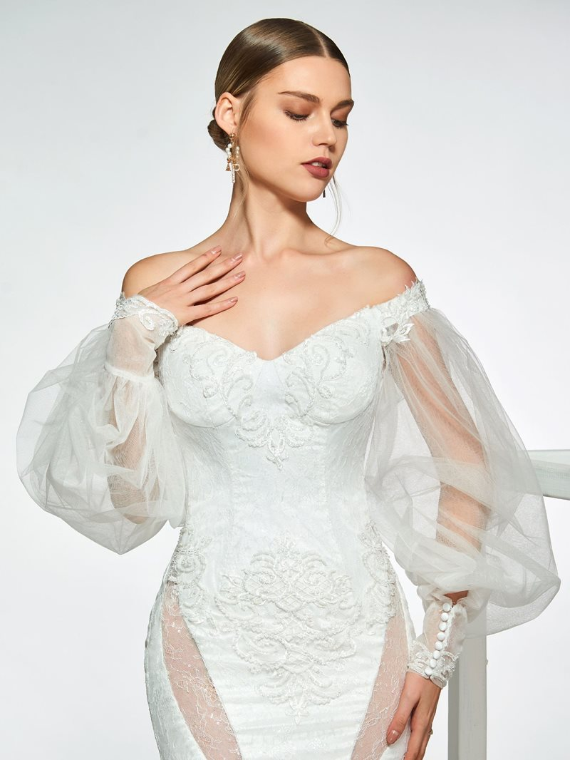 Ericdress Mermaid Lace Off-The-Shoulder Mermaid Wedding Dress