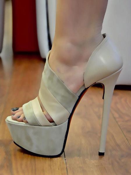 Milanoo Platform High Heel Sandals Black Open Toe Patchwork Stiletto Heel Sandals for Women