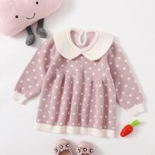 Toddler Girls Polka Dot Contrast Collar Sweater