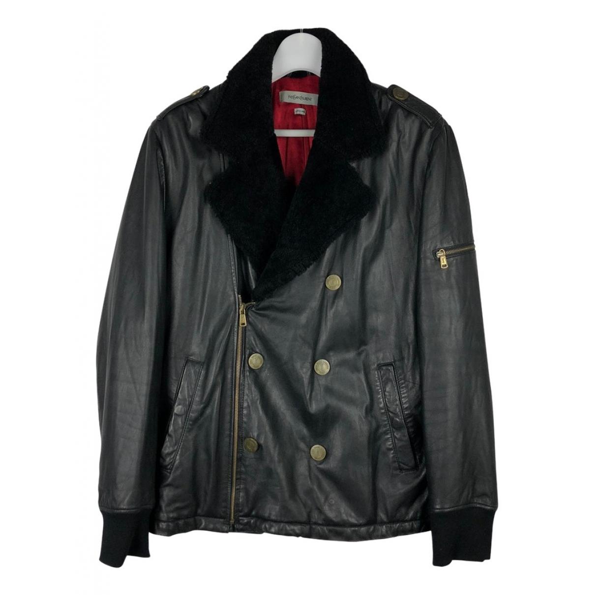 Yves Saint Laurent N Black Leather jacket  for Men XXL International