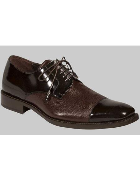 Mens Brown Lace Up Deer Skin Cap Toe Oxford Leather Shoes Mezlan Brand