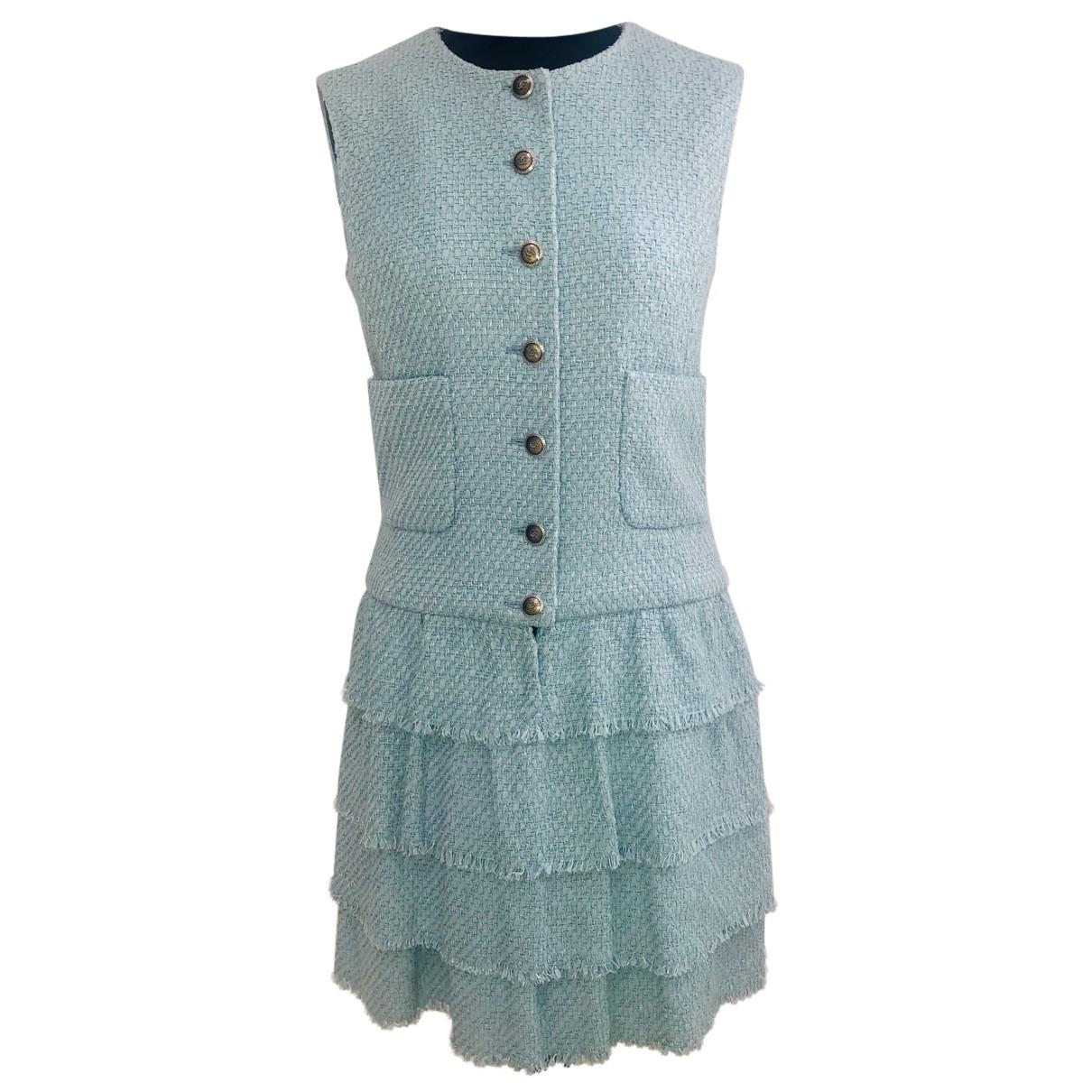 Chanel - Robe   pour femme en coton - turquoise