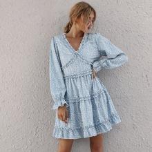 Kleid mit Rueschenbesatz, mehrschichtigem Saum und Leopard Muster