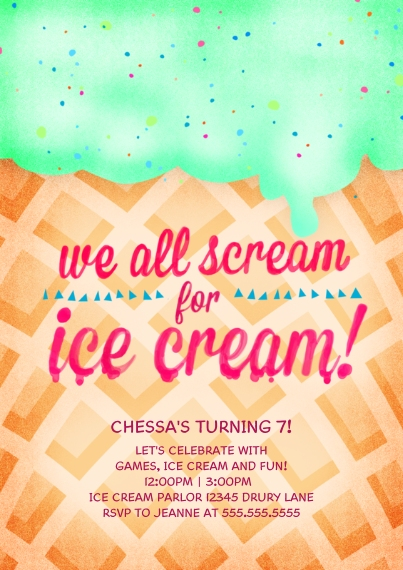 Kids Birthday Party Invites 5x7 Cards, Premium Cardstock 120lb, Card & Stationery -Scream for Ice Cream!