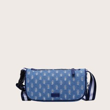 Denim Fray Decor Crossbody Bag