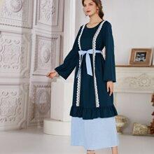 Lace Trim Ruffle Belted Dress