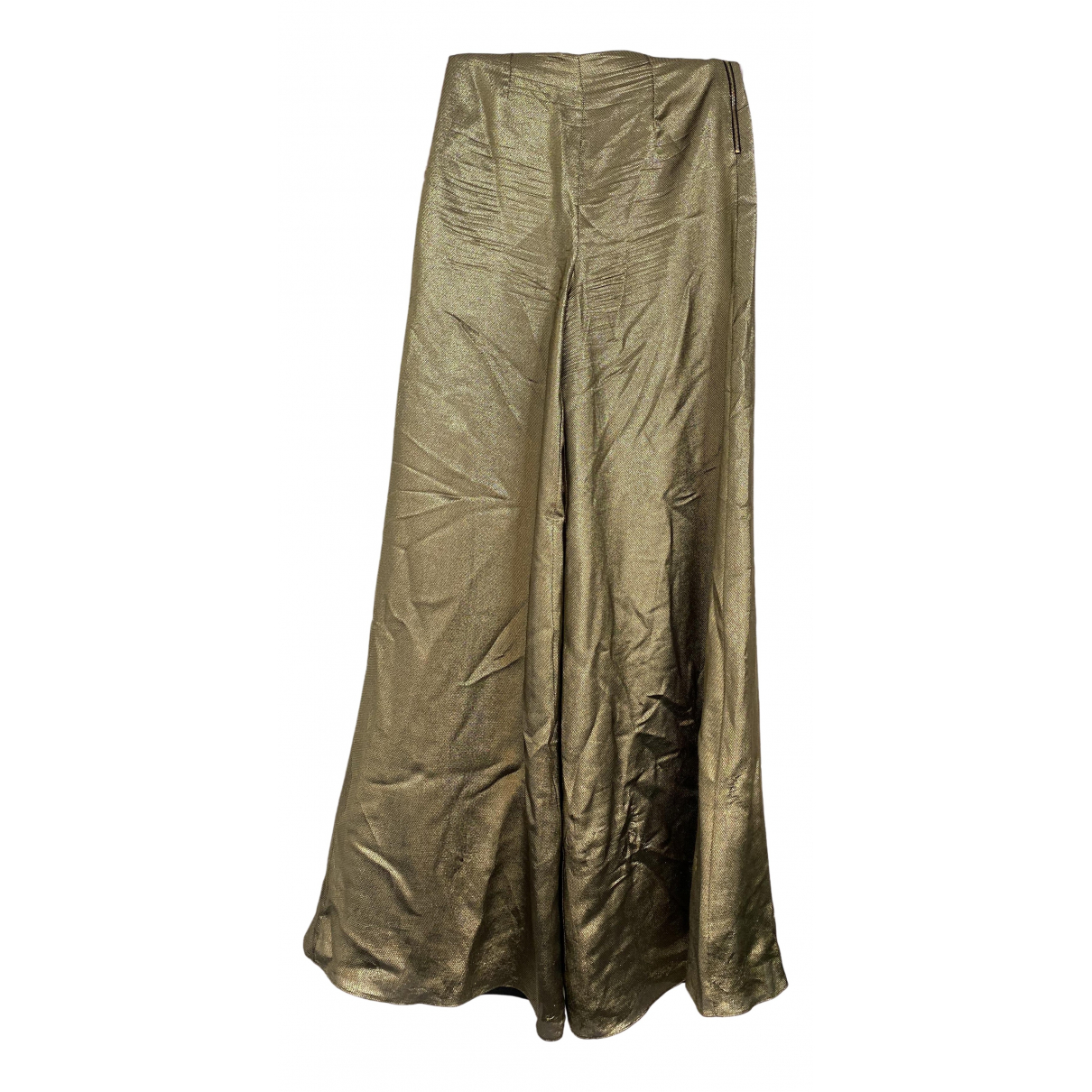 Roland Mouret \N Gold Silk Trousers for Women 8 UK