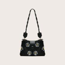Floral Fluffy Baguette Bag