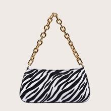 Zebra Pattern Baguette Bag