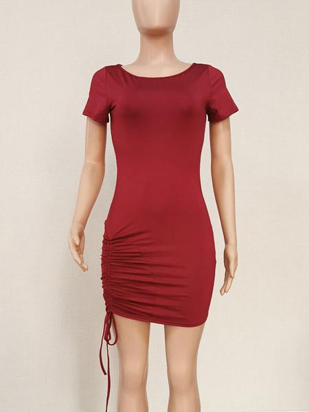 Milanoo T Shirt Dresses Short Sleeves Drawstring Summer Dress