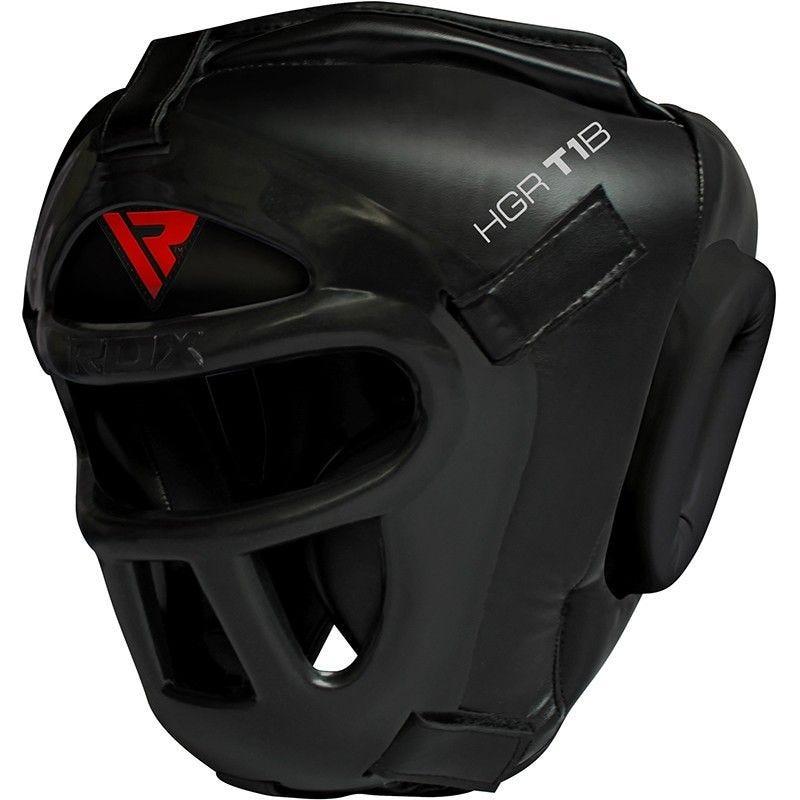 RDX T1 Combox Protector Cabeza y Cara Cuero PU Negro Mediano